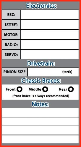 RC Car Setup sheet Explained